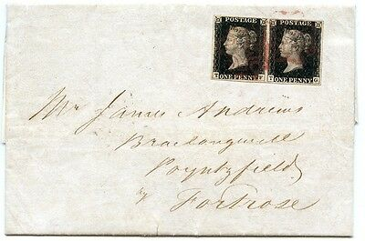 "1840 cover, 1d black pl 6 pair cancelled by the Aberdeen ""ruby"" Maltese cross."