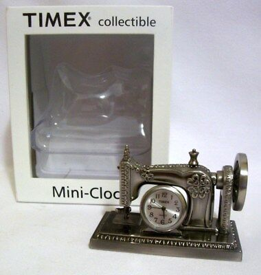 Timex Collectible Mini Sewing Machine Mantel Clock / New Battery Orig Box