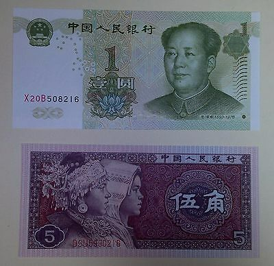 2 China banknotes: 1 yuan &  5 yiao banknote, UNC, paper money