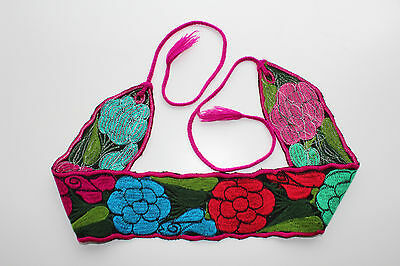 """Mexican Folkloic Embroidered Flowers Wide Corset Belt 4"""" wide Adjustable M/L 38"""