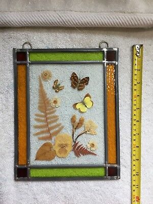 Vintage decorative stained glass pressed flower collage