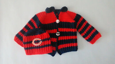 Handmade Chicago Football Sweater and Hat Set Size 3-6 Months