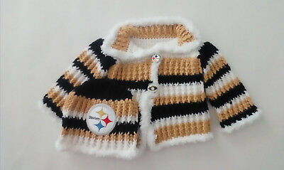 Handmade Pittsburgh Football Sweater and Hat Set Size 3-6 Months