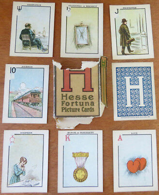 Antique ©1917 HESSE FORTUNA FORTUNE TELLING CARDS - 52-Card Tarot Deck Complete