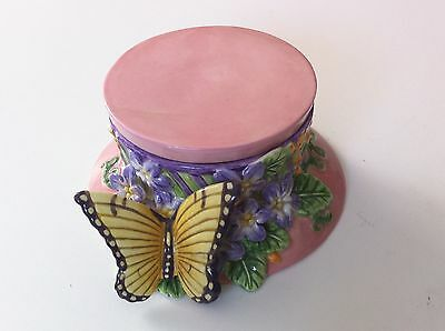 Fitz & Floyd Butterfly Trinket Candy Box Pink Essentials Series Top Hat NM Lid