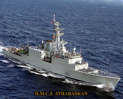 Royal Canadian Navy Destroyer Hmcs Athabaskan Ddh 282 Photo With Stats Sheet