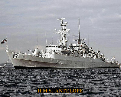 Royal Navy Frigate Hms Antelope F170 Photograph With Bonus Stat Sheet