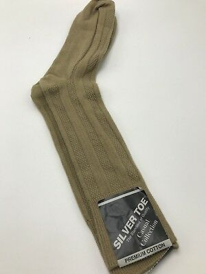 Silver Toe Casual Socks Mens Tan Taupe Cotton Vintage 1980s Crew Calf NWT