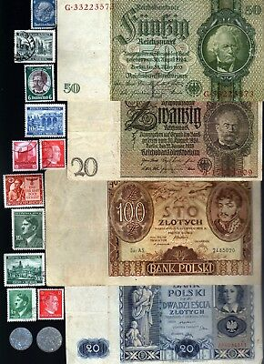 Nazi Banknote, Coin And Stamp Set  # 44