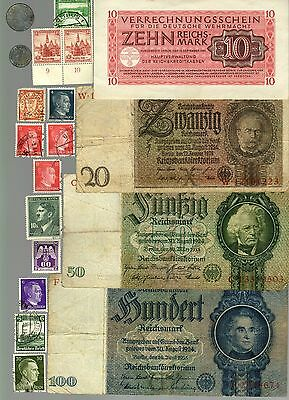 Nazi Germany Banknote, Coin And Stamp Set   * J *