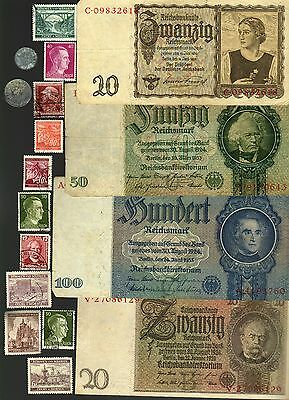 Nazi Germany Banknote, Coin And Stamp Set  # 115