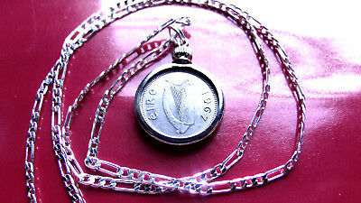 "1967 IRISH LUCKY RABBIT COIN PENDANT on a 26"" 925 STERLING SILVER Chain"