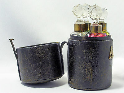 Antique Victorian 4 color perfume bottles leather travelling case ca. 1850-1900