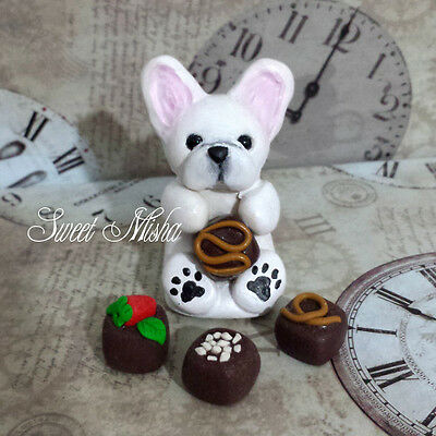 FRENCH BULLDOG dog FRENCHIE sculpture clay white puppy handmade ooak SWEET MISHA