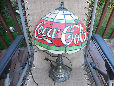 Tiffany Style Coca-Cola Stained Glass Table Lamp