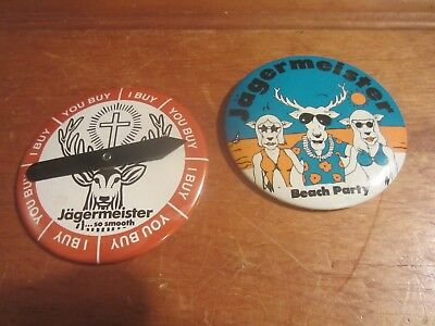 2 Jagermeister Pins So Smooth Spinner Drinking Game & Beach Party Pinback Button