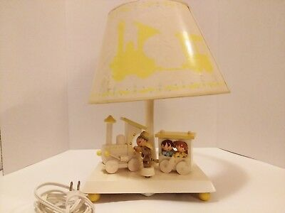 Vintage Nursery Childrens Night Light Lamp Music Box Wood Train Baby Decor