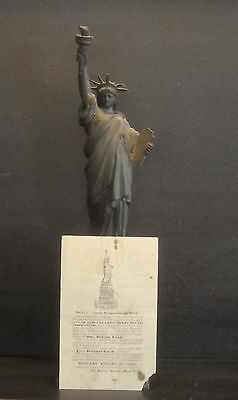 "Antique American Committee Statue Of Liberty 12"" Model & Blank Subscription Form"