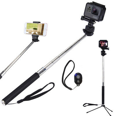 Selfie Stick With Phone Holder+Bluetooth Remote+Tripod+adaptor for GoPro Phones