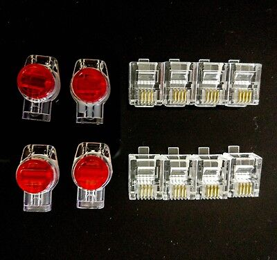 8 x RJ11 Plugs 6P4C Modular + 4 x Three-Wire Joiners Anti rust & moistrure