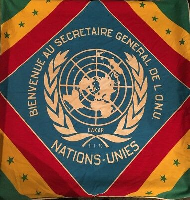 """Vintage 1970's United Nations General Assembly Dakar Flag RARE 34"""" by 31"""""""