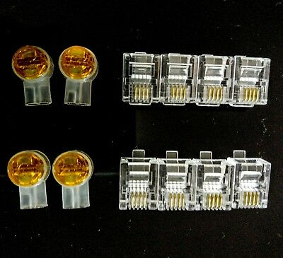 8 x RJ11 Plugs 6P4C Modular + 4 x Two-wire Joiners Anti rust coated contacts