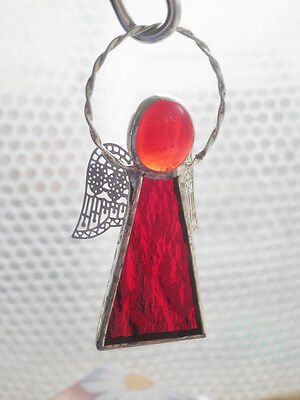 Leadlight Stained Glass Red Angel Halo Silver wings handmade Australia