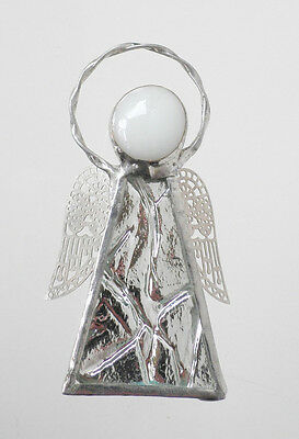 Leadlight Stained Glass Angel Halo Silver wings handmade in Australia