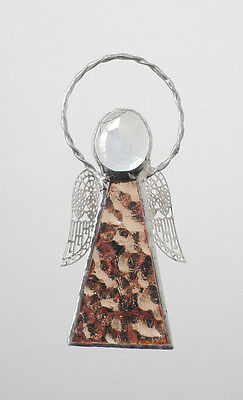 Leadlight Stained Glass Pale Copper Angel Halo Silver wings handmade Australia