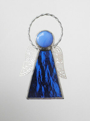 Leadlight Stained Glass Blue Angel Halo Silver wings handmade in Australia