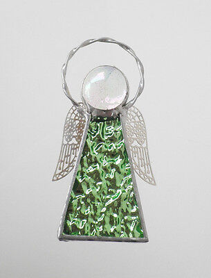 Leadlight Stained Glass Pale Green Angel Halo Silver wings handmade in Australia