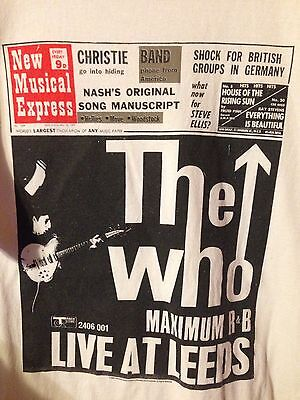 The Who Live At Leeds Polygram XL Promo T-Shirt New Musical Express NME