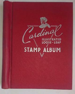 Vintage Cardinal Illustrated Loose-Leaf Stamp Album - Ist Edition with Pages