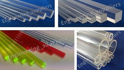 Clear Acrylic Round, Square, Colour Rods Bars & Tube 2 to 25mm dia 100mm - 600mm