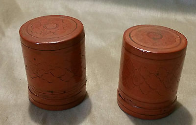 """Vintage/Antique Burmese Red Lacquer Wood Hand Painted a pair Box  2""""X2.5"""
