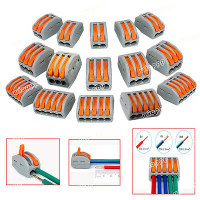 2/3/5Way Connector Wire Reusable Spring Lever Terminal Block Electric Cable