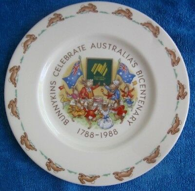 BUNNYKINS Royal Doulton CELEBRATING AUSTRALIA'S BICENTENARY 1788 - 1988 PLATE