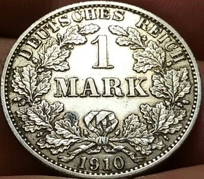 1910 German Empire 1 Mark silver coin gVF, Payment Plans avail frankyd360 #ch741