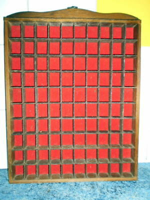 Thimble wooden display case with wall hook holds 90 thimbles