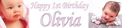 2x Personalised Photo banners all Occasions Christening birthday party name age