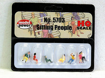 MODEL POWER #5703 HO Scale SITTING PEOPLE 6pc New in pack