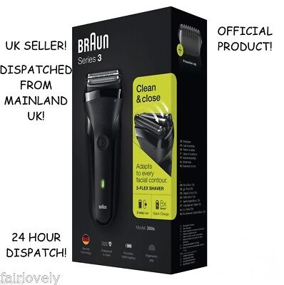 NEW! BOXED AND SEALED! BRAUN Series 3 300s Electric Black Rechargeable Shaver