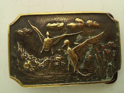 Vintage BTS Solid Brass Belt Buckle Pheasants 2x3 Inches