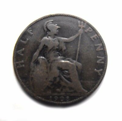 King Edward VII 1908 HALFPENNY in a collectable condition