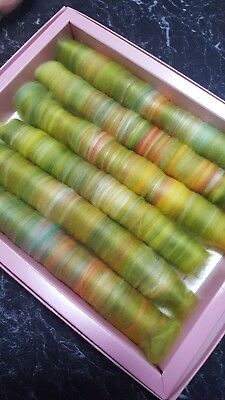 85Gr Wool Silk Rolags Spinning Felting Spindle Textiles Fibre Craft