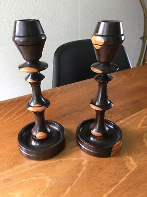 Pair Of Hard Wood Candle Stick Holders