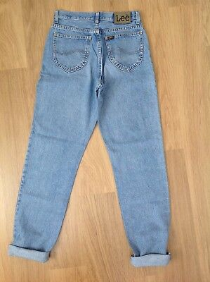 WOMENS VINTAGE LEE MOM JEANS Stonewashed Blue High Waisted Tapered Leg Size W30