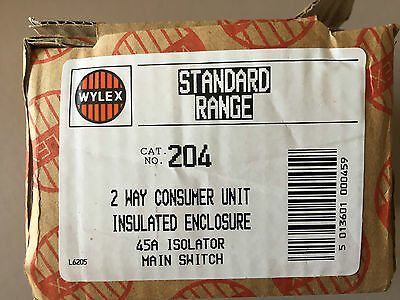 WYLEX Standard Range 2 Way Consumer Unit Insulated Enclosure 45A Isolator 204