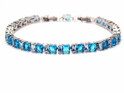 Silver London Blue Topaz & White Topaz 11ct Adjustable Tennis Bracelet Free Box