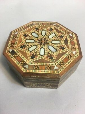 Vintage Marquetry Inlaid Wood Jewelry Dresser Box Antique Mother Pearl Octagon